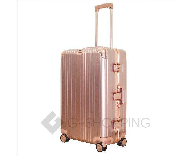 Пластиковый чемодан на колесах золотой РС151 5,4кг, фото 4