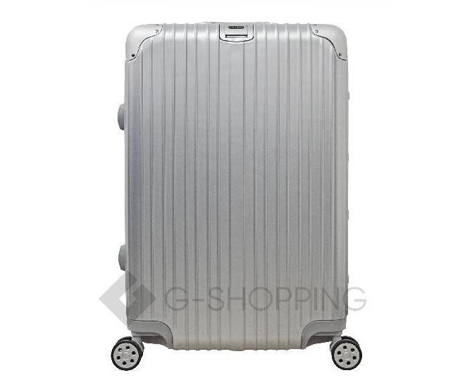 Пластиковый чемодан на колесиках серебряный РС151 5,4кг, фото 3