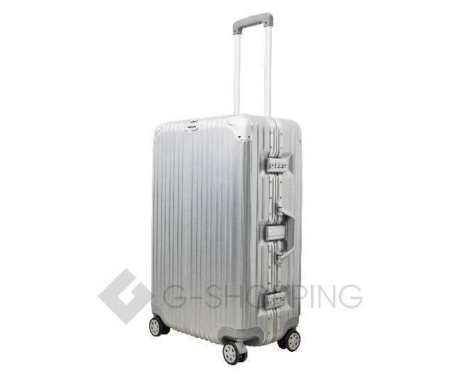 Пластиковый чемодан на колесиках серебряный РС151 5,4кг, фото 5