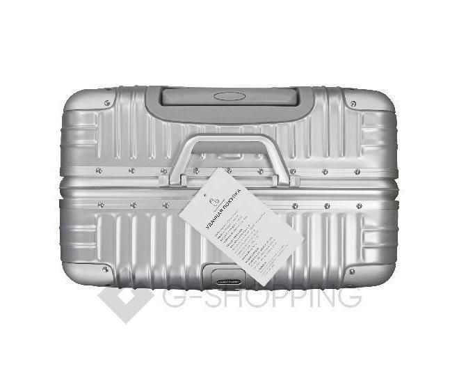 Пластиковый чемодан на колесиках серебряный РС151 5,4кг, фото 7