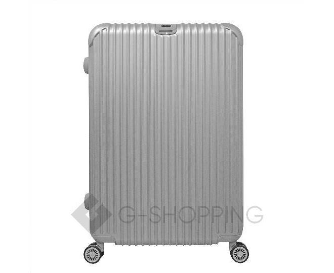 Пластиковый чемодан на колесиках серебристый РС140 6кг, фото 2