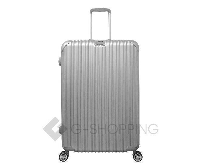Пластиковый чемодан на колесиках серебристый РС140 6кг, фото 1