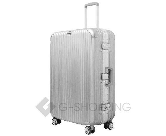 Пластиковый чемодан на колесиках серебристый РС140 6кг, фото 3