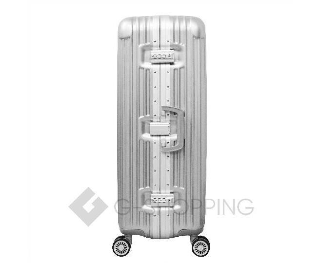 Пластиковый чемодан на колесиках серебристый РС140 6кг, фото 4