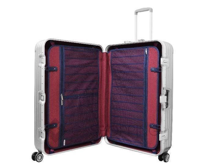 Пластиковый чемодан на колесиках серебристый РС140 6кг, фото 5