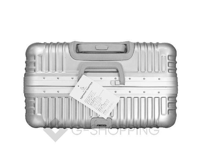 Пластиковый чемодан на колесиках серебристый РС140 6кг, фото 6