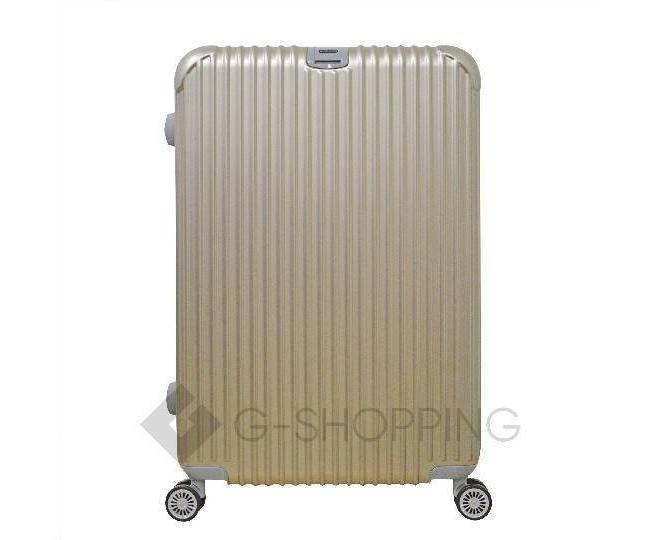 Пластиковый чемодан на колесиках золотой РС140 6кг, фото 2
