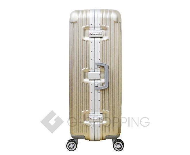 Пластиковый чемодан на колесиках золотой РС140 6кг, фото 3