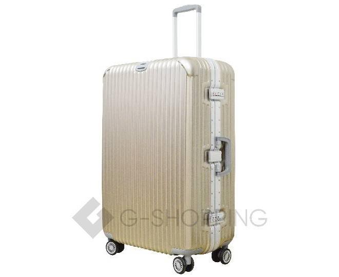 Пластиковый чемодан на колесиках золотой РС140 6кг, фото 4