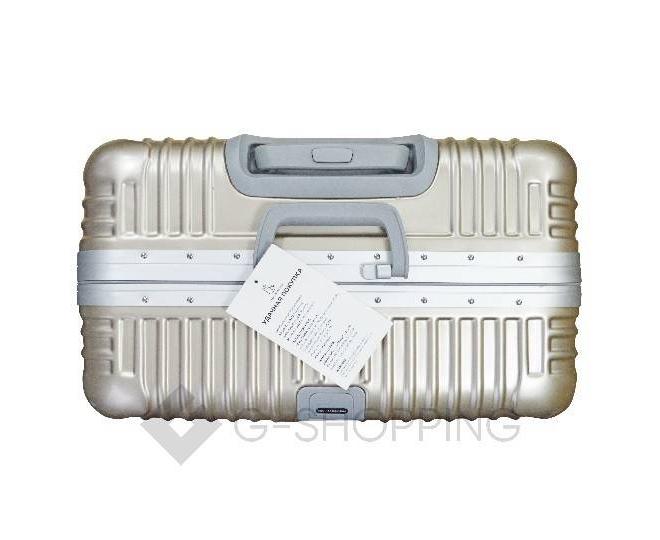 Пластиковый чемодан на колесиках золотой РС140 6кг, фото 6