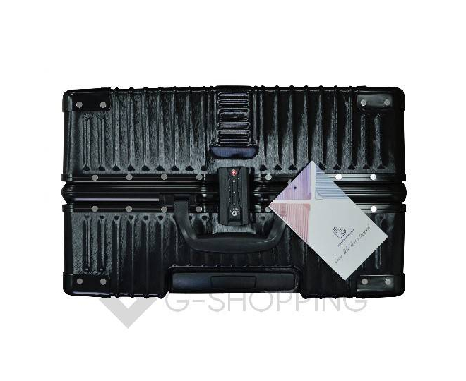 Пластиковый чемодан на колесиках черный DL068 4кг, фото 9