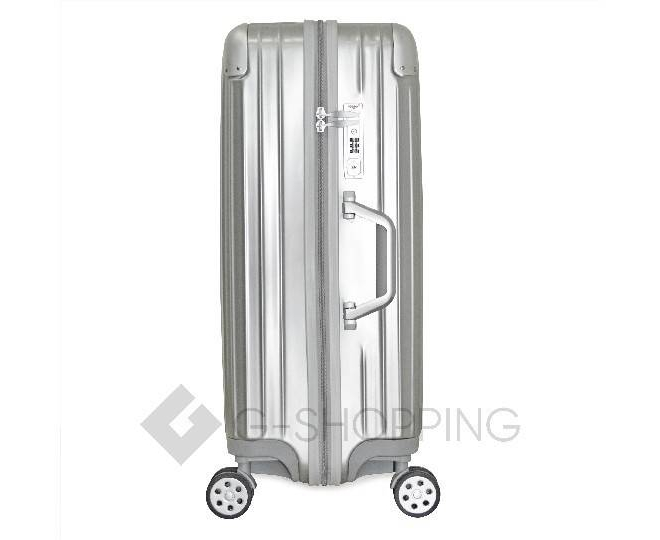 Пластиковый чемодан на колесиках серебристый DL072 3,4кг, фото 5