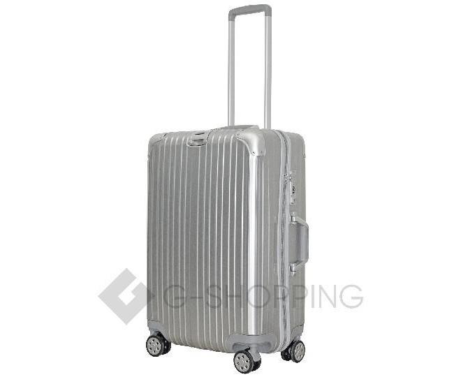 Пластиковый чемодан на колесиках серебристый DL072 3,4кг, фото 6