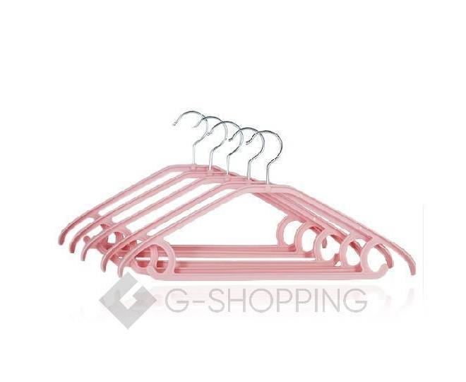 Набор вешалок розовый YJ-10 полипропилен 5 шт, фото 1
