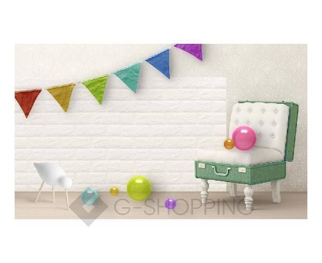 Мягкие декоративные самоклеющиеся панели для стен мягкие белые 70*77*0.1, фото 7