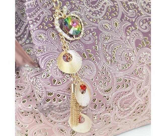 Женская розовая сумка с короткими ручками на молнии c080 Kingth Goldn, фото 5