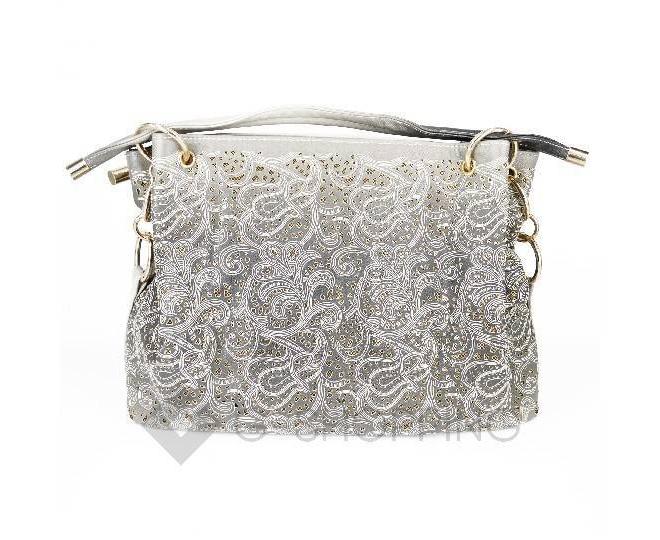 Женская серая сумка с короткими ручками на молнии c080 Kingth Goldn, фото 6