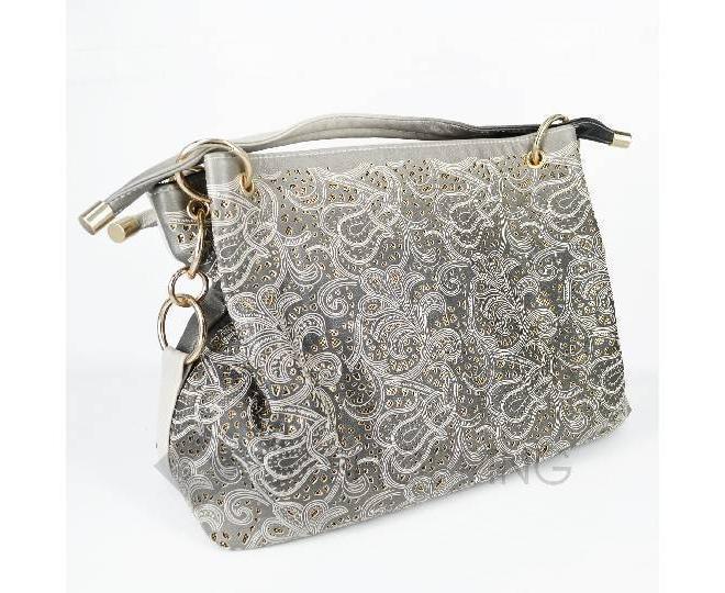 Женская серая сумка с короткими ручками на молнии c080 Kingth Goldn, фото 7