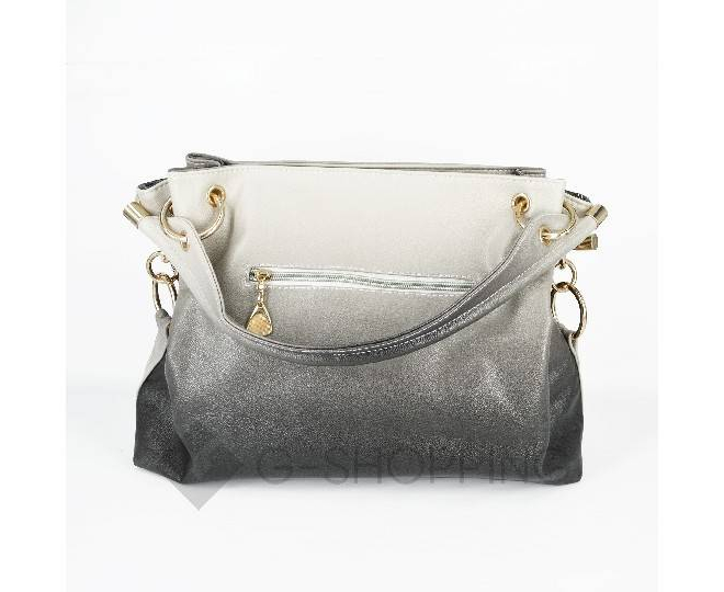 Женская серая сумка с короткими ручками на молнии c080 Kingth Goldn, фото 8
