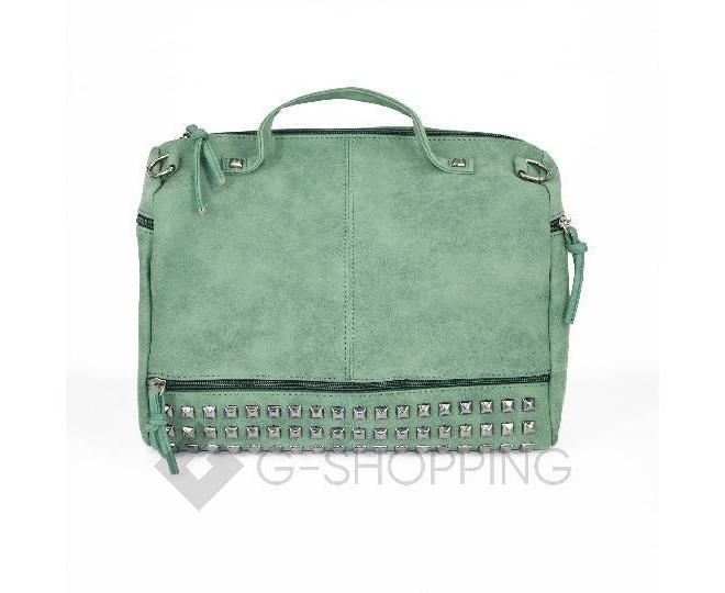 Женская зеленая сумка на молнии среднего размера c082 Kingth Goldn, фото 5