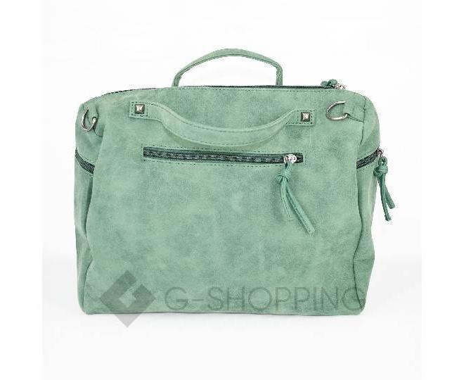 Женская зеленая сумка на молнии среднего размера c082 Kingth Goldn, фото 6