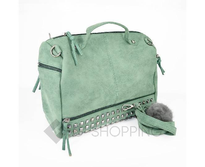 Женская зеленая сумка на молнии среднего размера c082 Kingth Goldn, фото 7