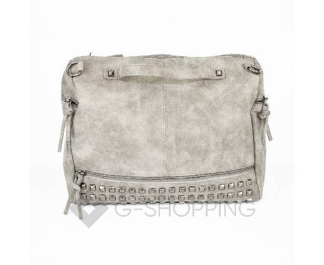 Женская серая сумка на молнии среднего размера c082 Kingth Goldn, фото 5