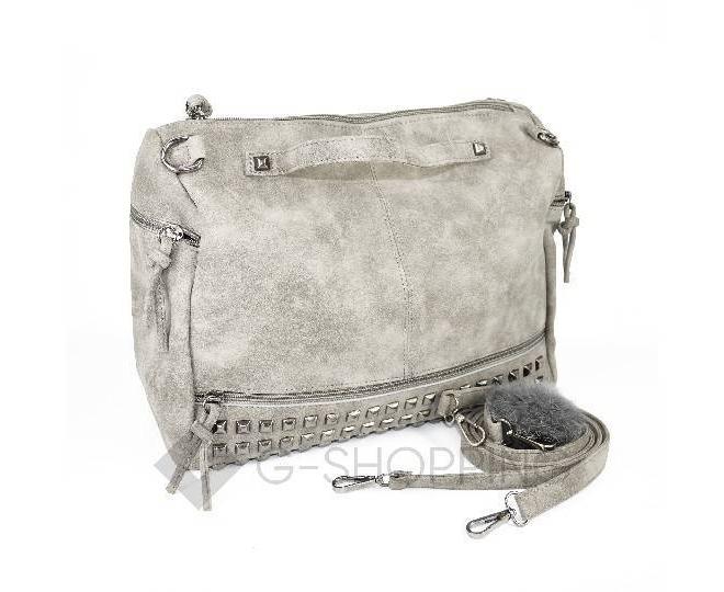 Женская серая сумка на молнии среднего размера c082 Kingth Goldn, фото 7