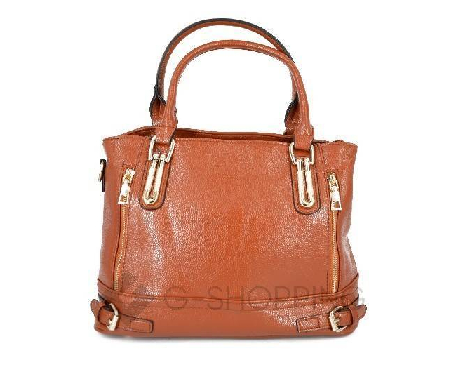 Женская коричневая повседневная сумка на молнии среднего размера Kingth Goldn, фото 2