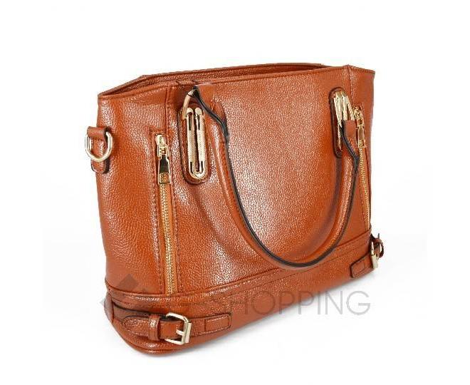 Женская коричневая повседневная сумка на молнии среднего размера Kingth Goldn, фото 4