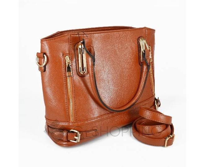 Женская коричневая повседневная сумка на молнии среднего размера Kingth Goldn, фото 1