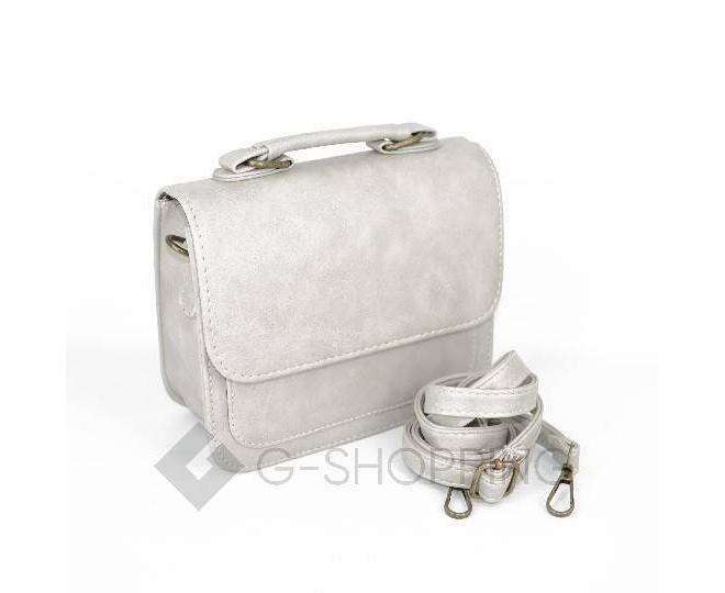 Женская маленькая серая сумка кросс-боди на магнитной застежке c083 Kingth Goldn, фото 8