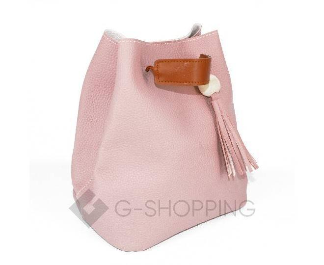 Повседневная женская розовая сумка среднего размера с магнитной кнопкой c091 Kingth Goldn, фото 4