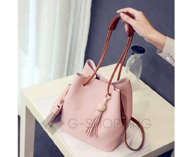 Повседневная женская розовая сумка среднего размера с магнитной кнопкой c091 Kingth Goldn, фото 6