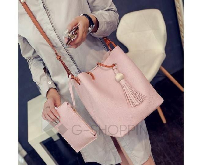 Повседневная женская розовая сумка среднего размера с магнитной кнопкой c091 Kingth Goldn, фото 7