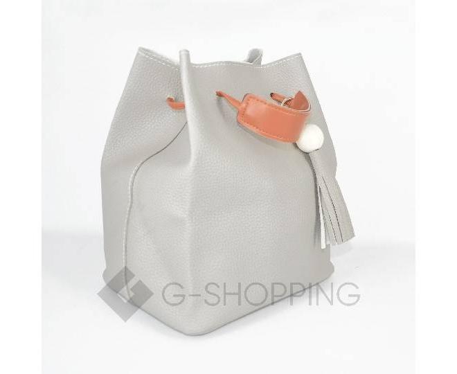 Повседневная женская серая сумка среднего размера с магнитной кнопкой c091 Kingth Goldn, фото 5