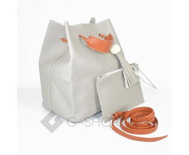 Повседневная женская серая сумка среднего размера с магнитной кнопкой c091 Kingth Goldn, фото 6