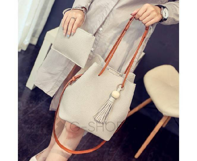 Повседневная женская серая сумка среднего размера с магнитной кнопкой c091 Kingth Goldn, фото 7