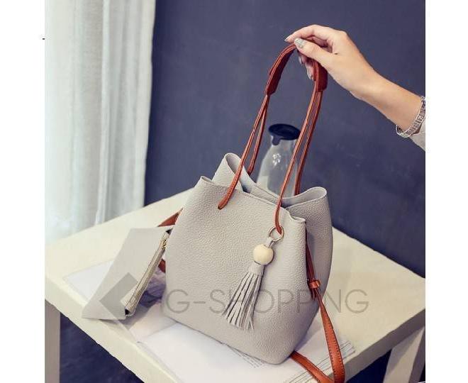 Повседневная женская серая сумка среднего размера с магнитной кнопкой c091 Kingth Goldn, фото 8