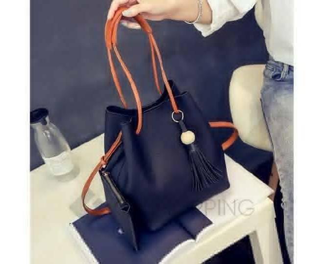 Повседневная женская черная сумка среднего размера с магнитной кнопкой c091 Kingth Goldn, фото 6