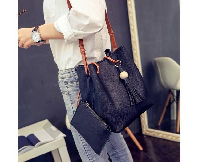 Повседневная женская черная сумка среднего размера с магнитной кнопкой c091 Kingth Goldn, фото 7
