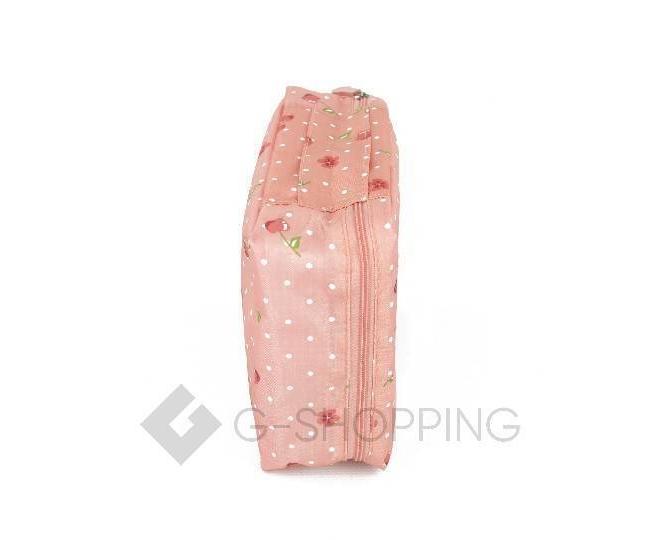 Косметичка женская розовая с принтом вишни на молнии