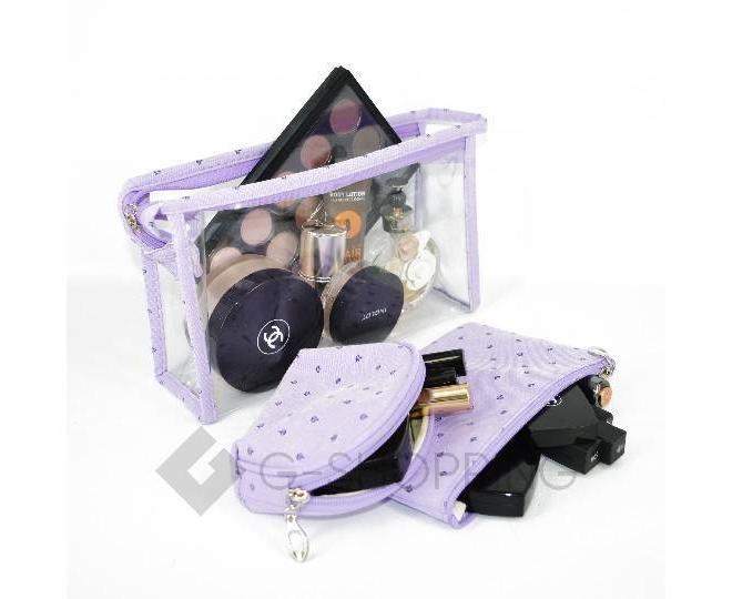 Комплект женских косметичек сиреневый из трех удобных сумочек разного размера
