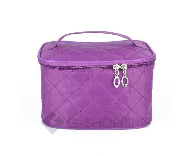 Косметичка женская пурпурная на молнии с зеркальцем