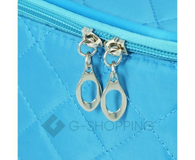 Косметичка женская голубая на молнии с зеркальцем