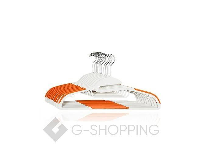 Набор вешалок YJ-09 10 шт пластик оранжевый, фото 1