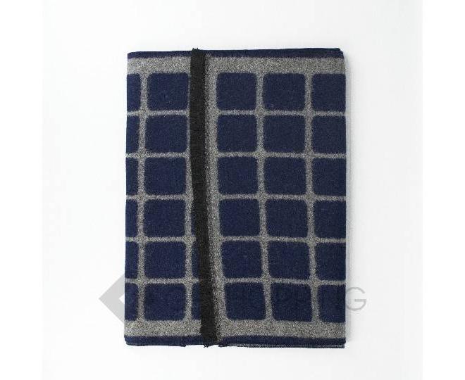 """Шарф флисовый WJ-19 синий """"Клетка"""" LANYINGDI"""