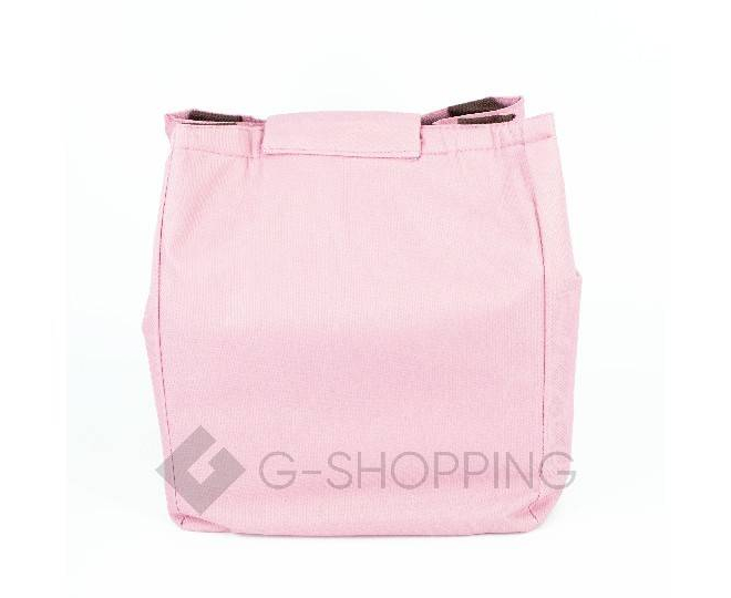 Женская розовая текстильная термосумка среднего размера с принтом C095, фото 6