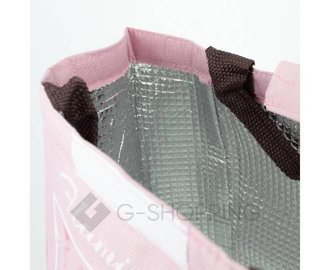Женская розовая текстильная термосумка среднего размера с принтом C095, фото 7