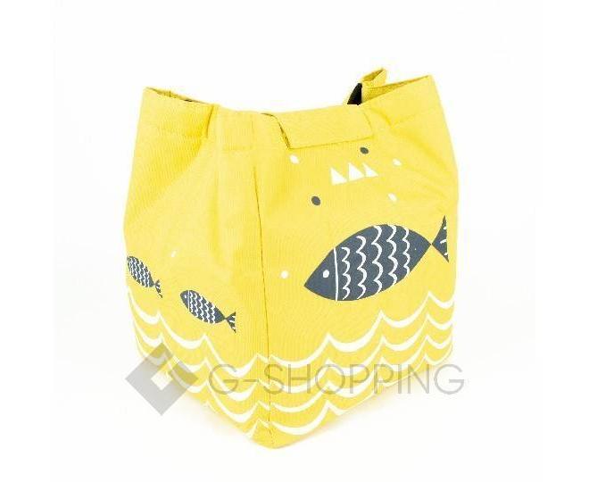 Женская желтая текстильная термосумка среднего размера с принтом C096, фото 5